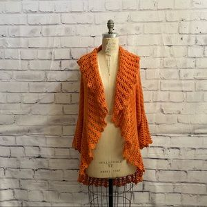 Felicity-loose knit shawl open, waterfall cardigan